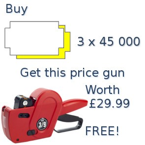 SUPER SPECIAL - Buy 3 boxes of 2/9 & 3/9 B labels 45K and get a free of charge 3/9 B03 pricing gun