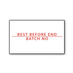 CT7 26x16 White printed red 'Best Before End/Batch No' Labels Permanent (12K/10 reels or 36K/30 reels)