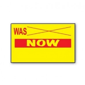 CT7 26x16 yellow printed red 'Was/Now' Price Gun Labels Freeze (12K/10 reels or 36K/30 reels)