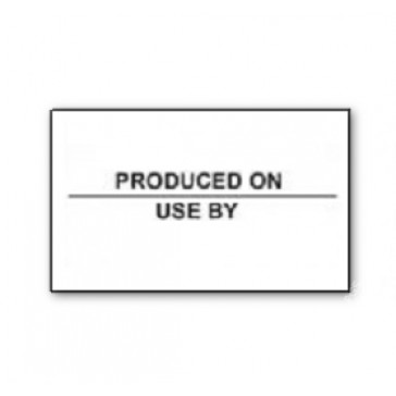 CT7 26x16 White printed black 'Produced On/Use By'  Labels Permanent (12K/10 reels or 36K/30 reels)