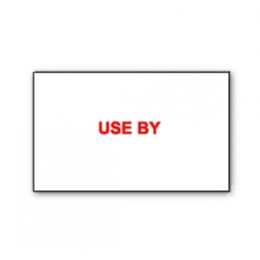 "CT7 26x16 White printed red ""Use By"" Labels Permanent  (12K/10 Reels or 36k/30 Reels)"