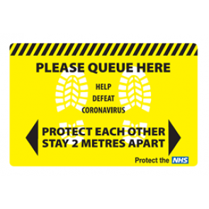 "Social Distancing Floor Label Stickers ""PLEASE QUEUE HERE - STAY 2 METRES APART"" 450mm x 300mm"