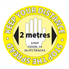 "Social Distancing Window Label Stickers ""KEEP YOUR DISTANCE STOP THE SPREAD"" 148mm x 148mm Circles"