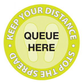 "Social Distancing Floor Label Stickers ""QUEUE HERE - KEEP YOUR DISTANCE - STOP THE SPREAD"" 300mm x 300mm Circles"