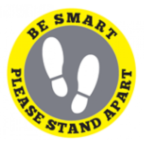 "Social Distancing Floor Label Stickers ""BE SMART - PLEASE STAND APART"" 300mm x 300mm Circles"