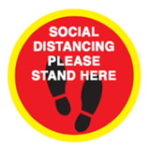 "Social Distancing Floor Label Stickers ""SOCIAL DISTANCING PLEASE STAND HERE"" 300mm x 300mm Circles"