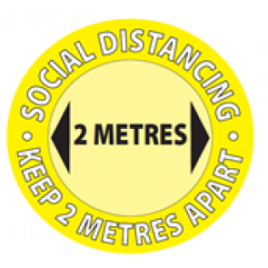 "Social Distancing Window Label Stickers ""SOCIAL DISTANCING KEEP 2m APART"" 148mm x 148mm Circles"