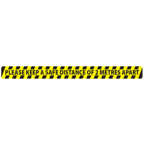 "Social Distancing Floor Label Stickers ""KEEP YOUR DISTANCE STAY 2 METRES APART"" 50mm x 600mm"