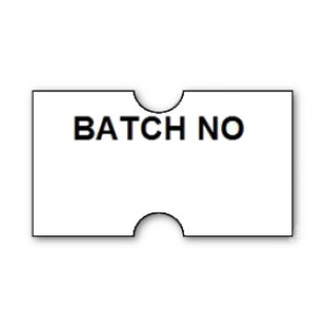CT1 22x12mm Punch Hole Printed 'Batch No' Label  (15k/15 reels or 50k/50 reels)