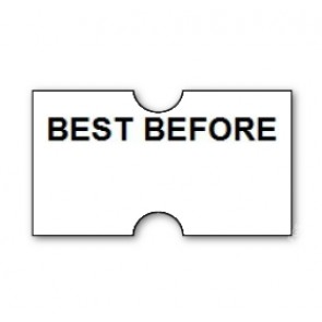 CT1 22x12mm Punch Hole Printed 'Best Before' Label (15k/15 reels or 50k/50 reels)