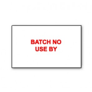 CT7 26x16 White printed red 'Batch No/Use By' Labels Permanent 26 x 16mm (12K/10 Reels or 36K/30 Reels)
