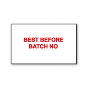 CT7 26x16 White printed red 'Best Before/Batch No' Labels Permanent  (12K/10 reels or 36K/30 reels)