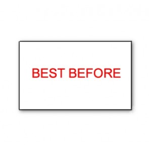 CT7 26x16 White printed red 'Best Before' Labels Permanent (12K/10 reels or 36K/30 reels)