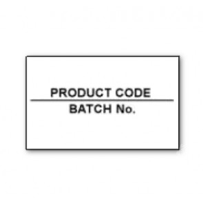 CT7 26x16 White Printed Black 'Product Code/Batch No' Labels Permanent (12K/10 reels or 36K/30 reels)