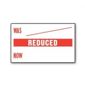 CT7 26x16  white printed red 'Was/Reduced/Now' Price Gun Labels (12K/12 reels or 36K/36 reels)