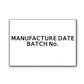 CT7 26x16 White printed black 'Manufacture Date/Batch No.' Labels Permanent (12k/10 reels or 36k/30 reels)