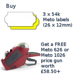 MULTIBUY Meto - Buy 3 boxes of Meto 26x12mm labels and get a Meto Eagle 626 or 1026 gun free